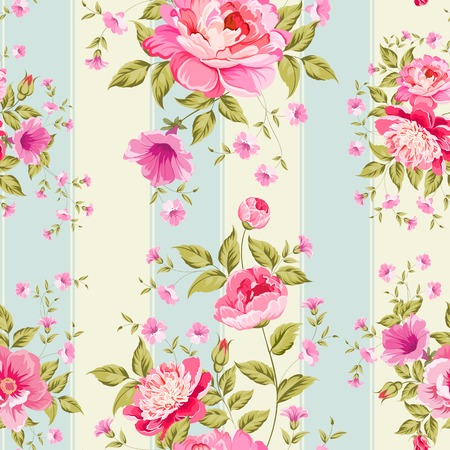 Luxurious peony wallapaper in vintage style. Vector illustration. Vettoriali