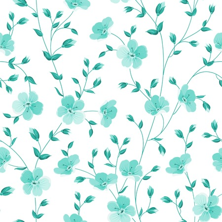 wedding decor: Seamless flowers pattern isolated on white background. Vector illustration.