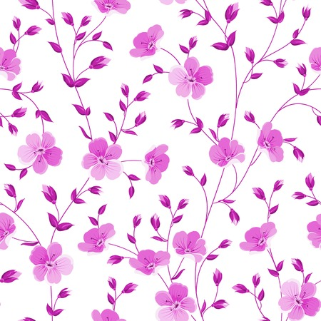 Seamless flowers pattern isolated on white background. Vector illustration. Vector