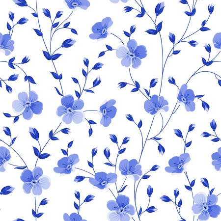 Seamless flowers pattern isolated on white background. Vector illustration.