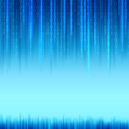 抽象バイナリ コード マトリックス スタイルの青色の背景色を返します。ベクトル イラスト。  イラスト・ベクター素材