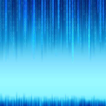 codigo binario: Código binario abstracto sobre fondo azul de estilo Matrix. Ilustración del vector. Vectores