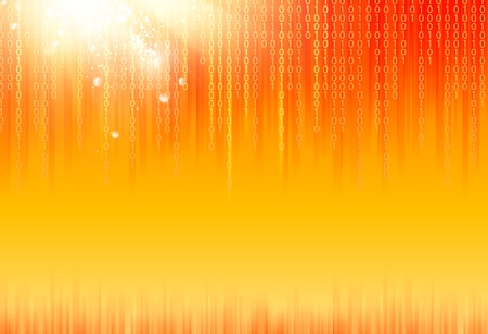 Abstract binary code on orange background of Matrix style. Vector
