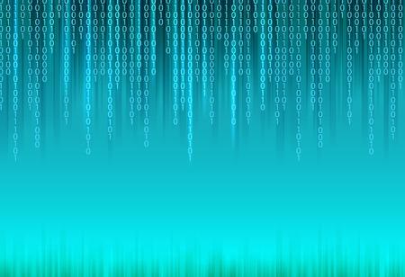 マトリックスのスタイルの青色の背景に抽象バイナリ コード。  イラスト・ベクター素材