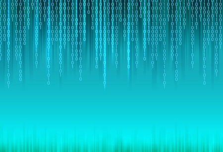 Abstract binary code on blue background of Matrix style.  Ilustração