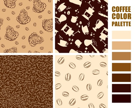 Fabric texture swatches set with color palette. Vector illustration.