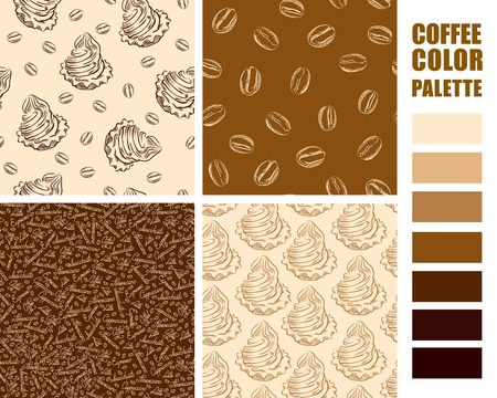 sampler: Fabric texture swatches set with color palette.