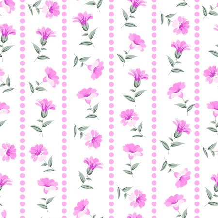 chik: Wallpaper seamless floral pattern over white background. Vector illustration.