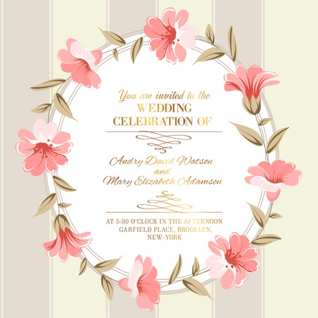 pink flower background: Wedding invitation card of color flowers. Vector illustration.