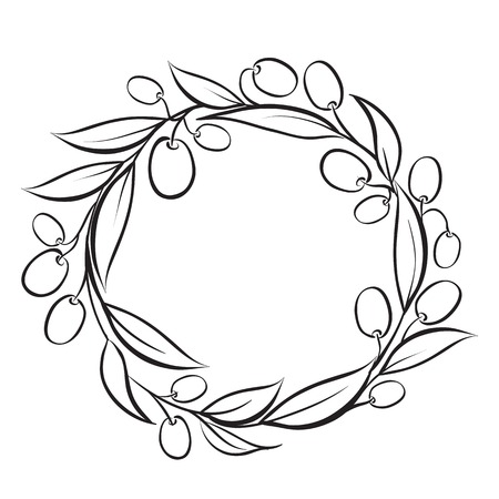Olive wreath frame, hand-drawn paint. Vector illustration.
