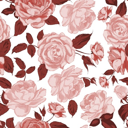 Seamless floral pattern with Rose. Vector illustration.