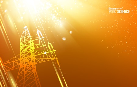 steel bridge: Electric power transmission tower with sparks. Vector illustration.