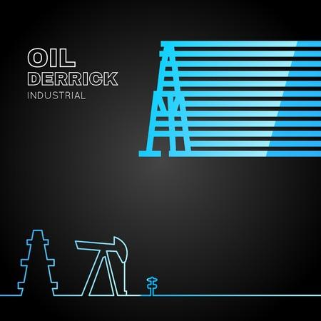 Oil rig icon in line design over dark background. Vector illustration. Vector