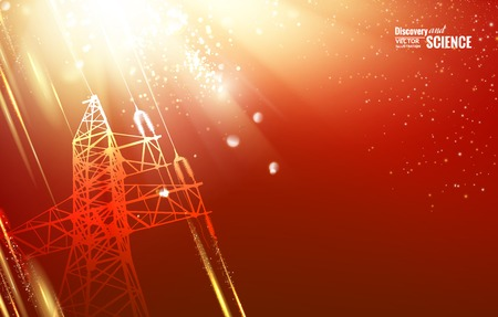 Electric power transmission tower with sparks. Vector illustration.