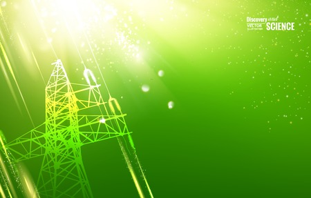transmission line: Electric power transmission tower with sparks. Vector illustration.