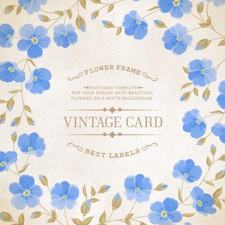 blue flowers: Blossoming flower brunch with spring flowers on old paper background. Vector illustration. Illustration