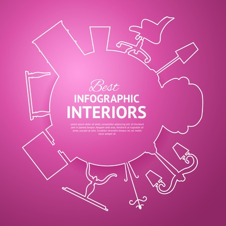 Interior circle infographics for your design. Vector illustration. Vector