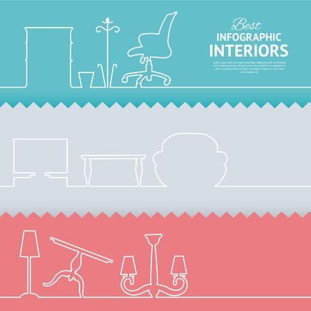 interior design: Flat colors infographics with interior design elements. Vector illustration. Illustration