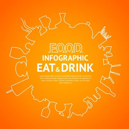 logo de comida: Alimentos diseño del logotipo en círculo gráfico. Ilustración del vector. Vectores