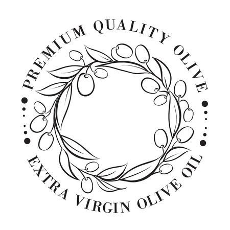ewer: Olive label in circle frame. Vector illustration. Illustration