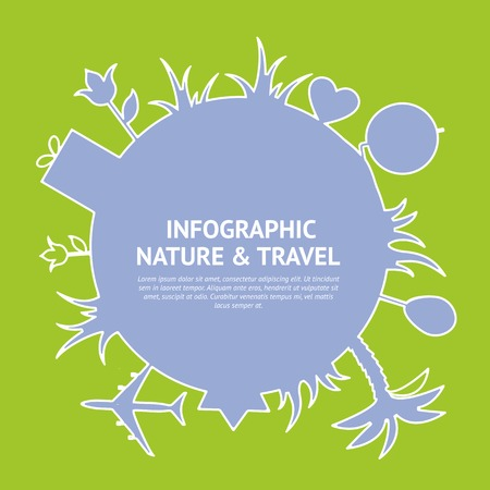 Flat colors infographics with travel design elements. Vector illustration. Vector