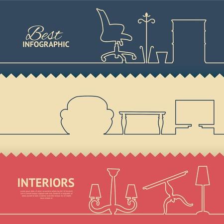 muebles de oficina: Colores infografía planas con elementos de diseño interior. Ilustración del vector. Vectores