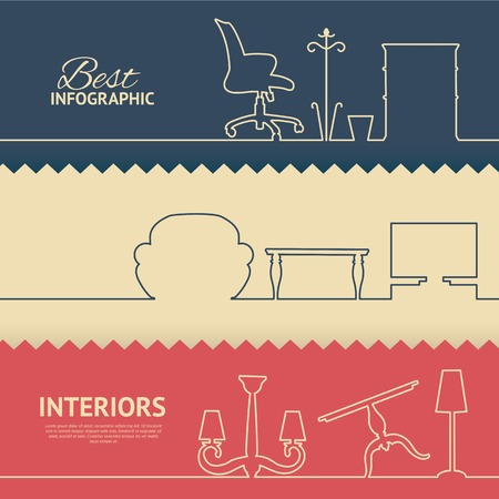 vintage furniture: Flat colors infographics with interior design elements. Vector illustration. Illustration