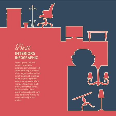 retro furniture: Flat colors infographics with interior design elements. Vector illustration. Illustration