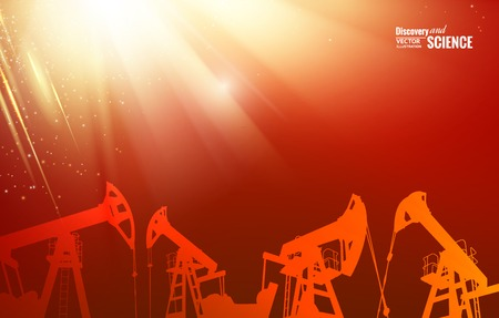 industrial machine: Oil pump energy industrial machine for petroleum in the sunset background. Vector illustration.