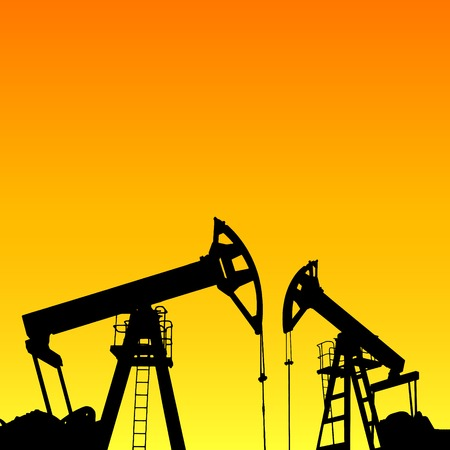 derrick: Oil pump industrial machine for petroleum in the sunset background. Vector illustration.