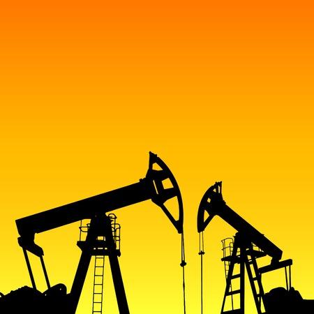 Pompe à huile de la machine industrielle de pétrole au coucher du soleil fond. Vector illustration.