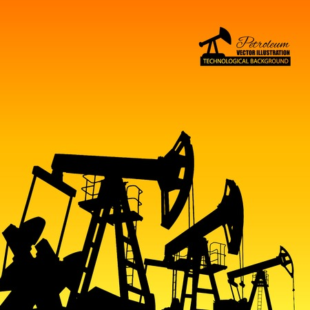 oilwell: Oil pump industrial machine for petroleum in the sunset background. Vector illustration.