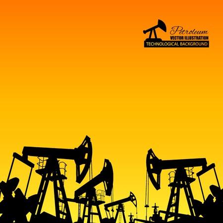 barril de petróleo: La bomba de aceite de la máquina industrial de petróleo en el fondo del atardecer. Ilustración del vector.