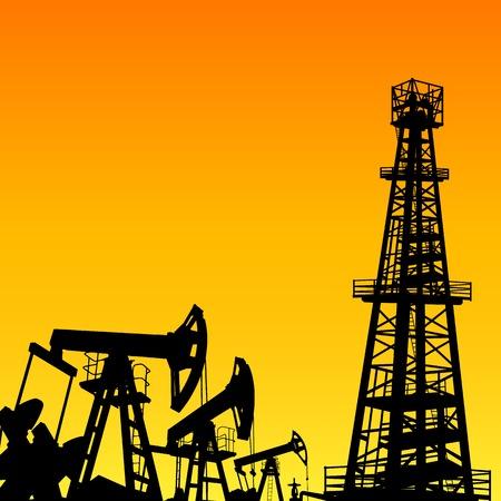Oil derrick de machines industrielles pour le forage sur le coucher du soleil. Vector illustration.