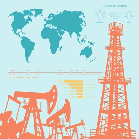 derrick: Oil industry infographics over orange background. Vector illustration.
