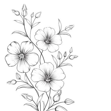 Flor de Linum aislada sobre fondo blanco. Ilustración vectorial