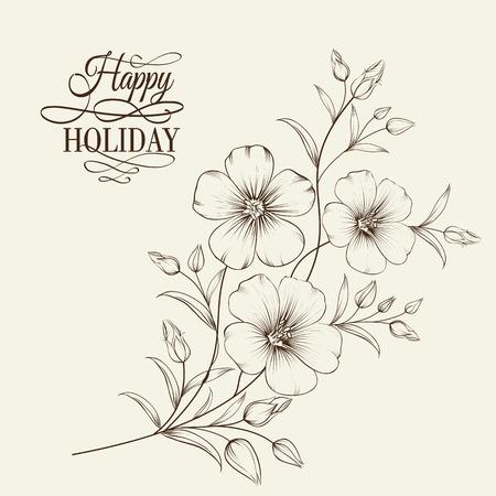 Linum Blume isoliert auf grauem Hintergrund. Vektor-Illustration. Standard-Bild - 32818071