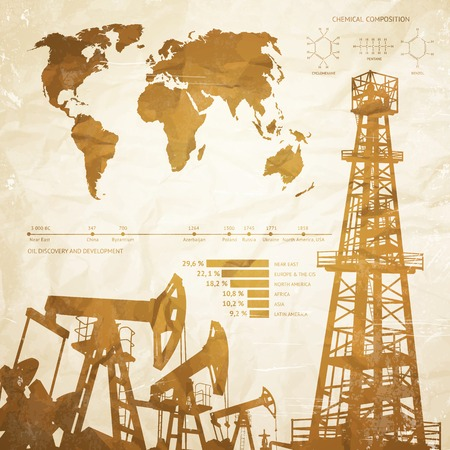 derrick: Oil industry infographics over old paper background. Vector illustration. Illustration