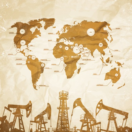 derrick: Oil industry infographics over old paper. Vector illustration.