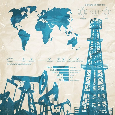 petroleum blue: Oil infographics with oil pumps and derrick. Vector illustration.