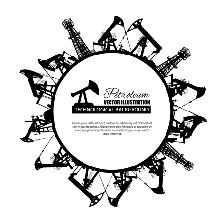 power of money: Oil industry circle frame isolated over white. Vector illustration.