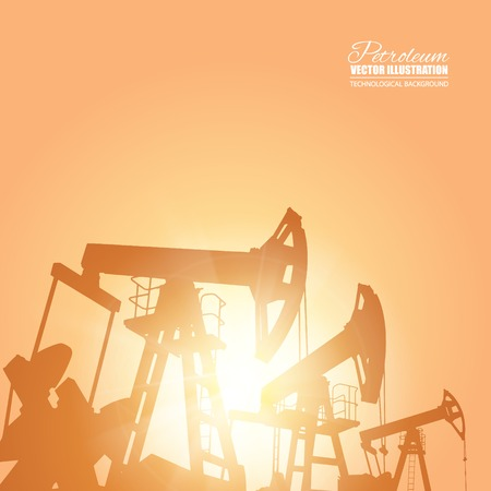 industrial machine: Oil pump energy industrial machine for petroleum over the sunset. Vector illustration.