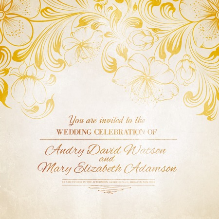 chik: Gold flowers garland for holiday card. Vector illustration.