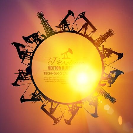 oilwell: Oil industrial circle border on the sunset background. Vector illustration. Illustration