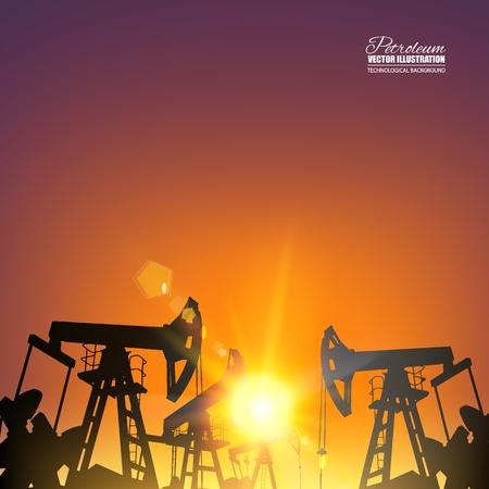 oil and gas industry: Oil pump industrial machine for petroleum in the sunset background. Vector illustration.