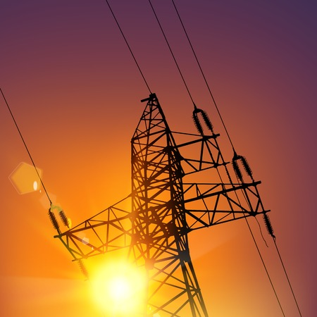 transmission line: Electrical Transmission Line of High Voltage Over Sunset. Vector Illustration.
