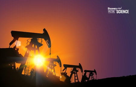 torre de perforacion petrolera: Campo petrolífero en la puesta del sol. Ilustración del vector.