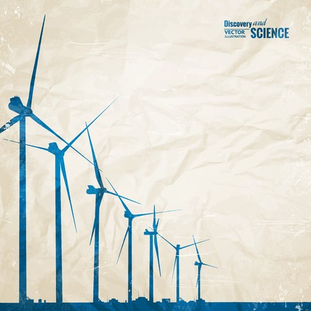 wind turbines: Electrical windmill generators over old paper. Vector Illustration.