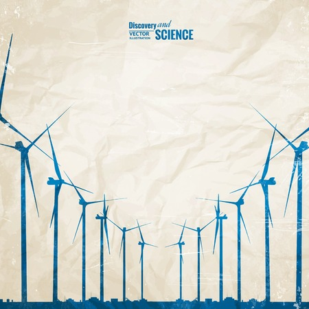 wind energy: Electrical windmill generators over old paper. Vector Illustration.