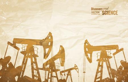 industry background: Aceite de fondo de la industria con el aceite de las bombas de m�s de papel viejo. Ilustraci�n del vector.